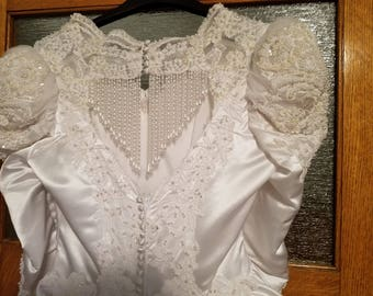 Beautiful Victorian Satin Wedding Gown