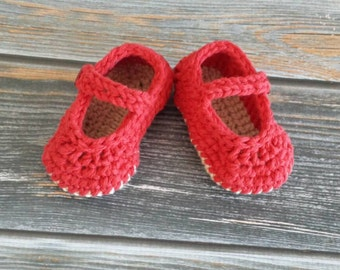 Crochet Baby Slippers - Baby Girl Crib Shoes - Baby Mary Jane Sandals - Infant Slippers - Baby Girl Shoes - Newborn Baby Slippers