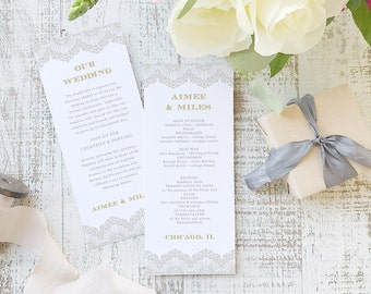 Instant Printable Wedding Program Template | INSTANT DOWNLOAD | Lace | Flat Tea Length | Editable Colors | Mac or PC | Word & Pages