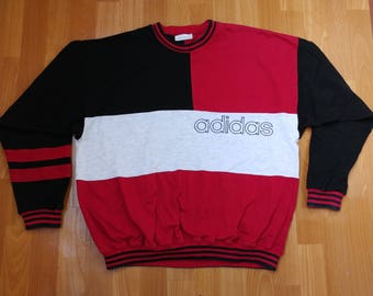 ADIDAS sweatshirt, red vintage hip hop shirt of 90s hip-hop clothing, 1990s gangsta rap, hoodie, size L Large (D7) Made in South Africa