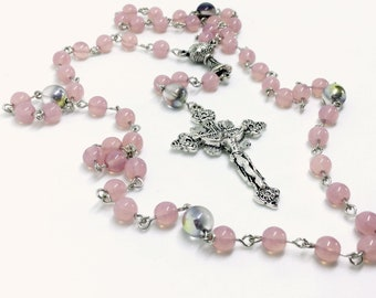 Lutheran Prayer Beads — Opal Pink and Marea Czech Glass — 5 Decades