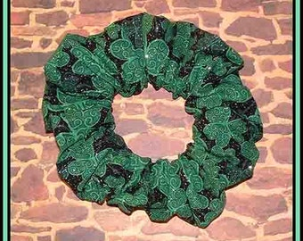 St. Patrick's Day Hair Scrunchie, Ponytail Holder, Fabric Hair Tie, Fancy Scrolled Clovers