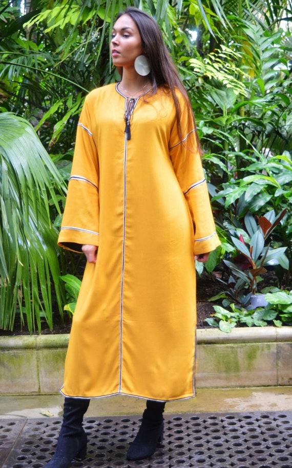 Kaftan, Caftan, Adriana Dark Yellow Kaftan Long, Moroccan Kaftan, maxi dress, beach cover ups, beach dress, plus size, winter dress, gift