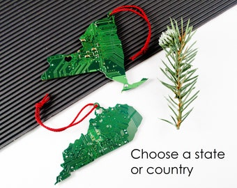 Circuit Board Ornament State Pride, Geeky Personalized Christmas Ornament, Computer Engineer Gift, Holiday Garland Decor, Hostess Gift