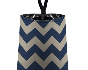 Car Trash Bag // Auto Trash Bag // Car Accessories // Car Litter Bag // Car Garbage Bag - Chevrons - Light Taupe and Navy Blue Car Organizer