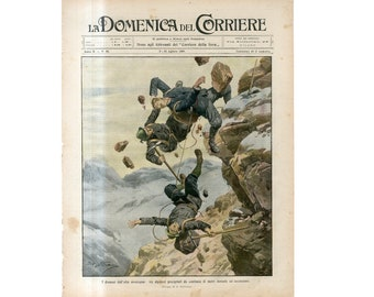 C. 1908 - TRAGEDY! FALLING CLIMBERS print - original antique lithograph - accident print - tragedy print - climbing in the Alps