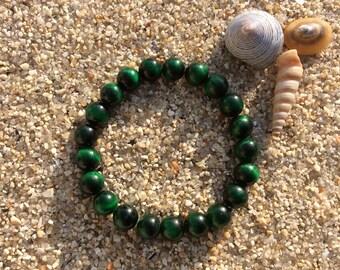 Bracelet Oeil de Tigre vert en perles rondes de 8 mm