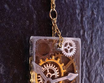 Bronze Chain with a Square Poly Resin Gear Pendant