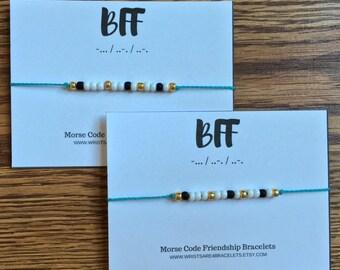 BFF Morse Code Bracelet - Custom Friendship Bracelet - Waterproof