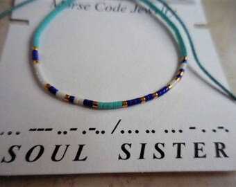 Morse Code Bracelet, Soul Sister Morse Code, Friendship bracelet, Spiritual bracelet, Minimalist jewelry, Sliding knot, Colorful bracelet