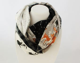 Infinity scarf with foxes, owls, arrows, raccoons patterns. Hipster scarf, patchwork scarf, Christmas gift, teenager