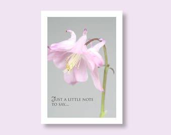 Flower Photo Card, Aquilegia Greetings Card, Flower Note Card, Floral Card, Pink Note Card, Notelet, Grey Notecard