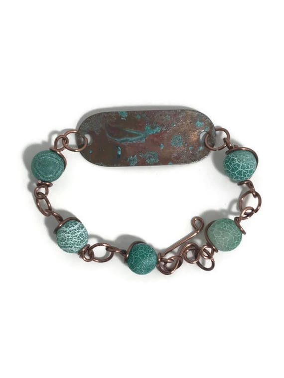 Rustic copper patina bead and link bracelet with turquoise glass crackle beads and antique copper wire