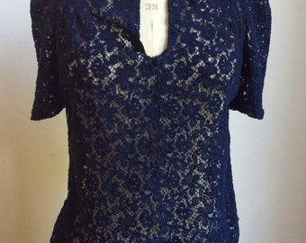 1930s /40s Navy Lace Blouse