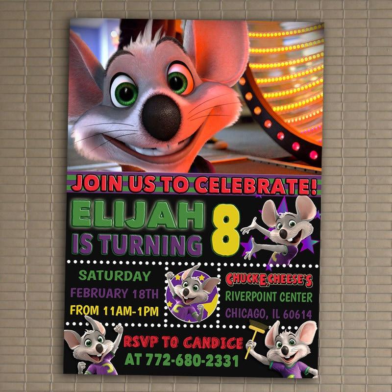 Chuck E Cheese Invitation You Print Invitation Chuck E