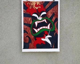 original AKU and SAMURAI JACK 8 X 11.25 Original Watercolor Painting