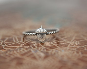 Delicate Little Acorn Stacking Ring. Sterling silver woodland acorn ring. Forest acorn stacking ring.