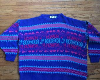 Vintage Gitano Oversize Multi Color Multi Print Knit Sweater (90's)