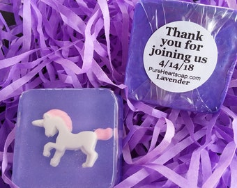Lavender Unicorn Party Favors - 12 soaps with personalized labels - DIY favor bags & ribbon - any color - birthday