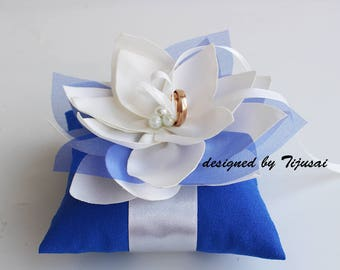 Wedding pillow with blue acents and Lily flower---ring bearer pillow, wedding rings pillow , wedding pillow, ready to ship