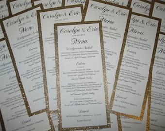 Gold Glitter Menu Wedding Bridal Shower Metallic Anniversary Party Customized Color 403