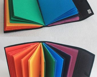 Rainbow Journal Softcover Embroidered Longstitch Binding by PrairiePeasant