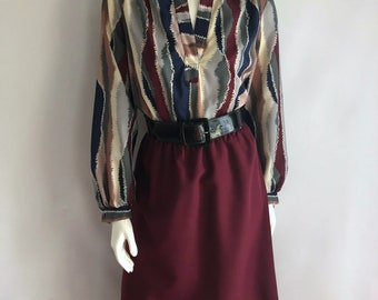 Vintage Women's 80's Secratary Dress, Burgundy, Geometric, Long Sleeve (L)