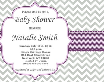 Purple Baby Shower Invitation Girl Baby Shower invitations Printable Baby Shower Invites / FREE Thank You Card / Editable Pdf Download (594)