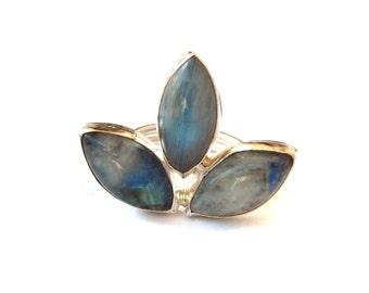 Marquise Moonstone Silver Ring