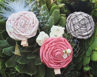 Satin rolled flower clips