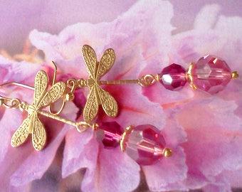 Dragonfly Earrings, Pink Crystal Earrings, Swarovski Pink Earrings, Dragonfly Dangles, Woodland Jewelry, Nature Lovers Earrings, Birthday