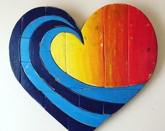"3-4 WEEK WAIT // Wave Rainbow Pallet 20"" Wood Heart woodart ,wall hanging , beach art, reclaimed wood, pallet wood, multicolor, spring dec"