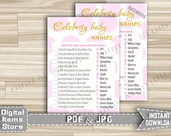Printable Celebrity Baby Name Game - Baby Shower Celebrity Baby Game Gold Glitter - Celebrity Baby Name Pink Dots - Instant Download - pg1