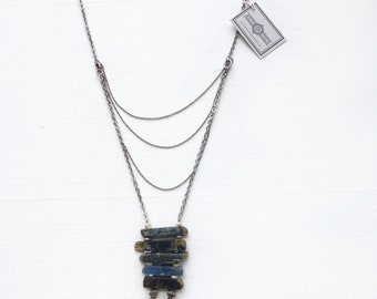 Kyanite + vintage rhinestone//Stainless steel//Multi chain necklace//Gift for woman//Assemblage necklace//OOAK//Wedding jewelry//