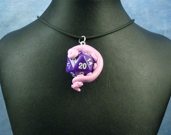 Lavender and Purple Sanity Check Necklace - Tentacle Wrapped D20 Pendant