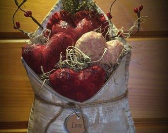 Handmade primitive Valentine decoration
