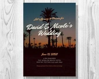 Tropical Palm Ticket Destination Wedding Invitation - Printable