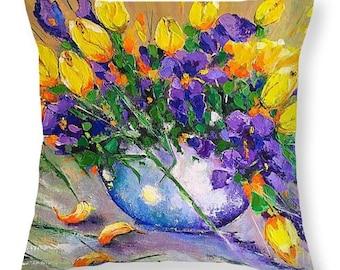 Art Throw Pillow,Spring Purple yellow pillow,Viktoriya Sirris art throw pillow,decorative throw, pillow home decor accent, sofa cough pillow