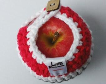 Apple cozy Handmade Crochet - apple cosy - Lunch bag buddy- Bas de laine pour pomme