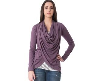Wraparound cardigan sweater with draped neckline - custom made in any size