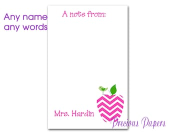 Personalized Teacher note pads Personalized teacher gift Personalized teacher pink chevron apple notepad apple note pad