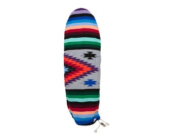 """Heather Grey Navajo Surfboard Bag: Mexican Blanket Baja Striped Diamond SURFBOARD SOCK fits up  to 6'2"""" Rounded Nose"""