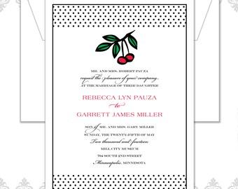 Cherry Polka dot Wedding Invite set