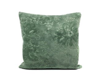 Green Velvet Cushion Cover | Floral Pillow Cover | Decorative Couch Pillow | Accent Pillow | Throw Pillow Cover | Handmade by EllaOsix