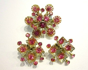 Vintage Pink Gold Rhinestone Spray Brooch Clip Earring Set Jewelry Gift for Her Gift for Mom Under 20 Gift Idea