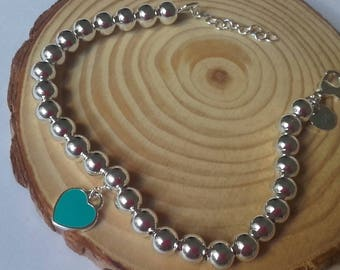 Bracelet Silver Light balls 925 closure with lengthening heart medium precious love of them kings Aniversaro... with special discount