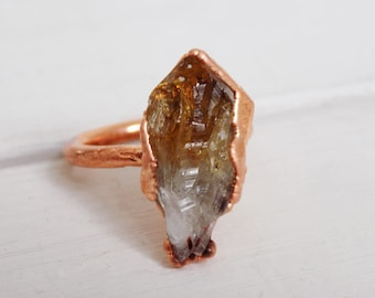 Statement raw citrine ring- copper crystal ring - boho ring -  November birthstone ring - size R ring - size 9 ring