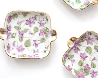 ASHTRAY SET, Vintage, Porcelain Ashtray Set by Royal Crown, Chintz Pattern, Repurposed Butter Pats or Tea Bag Holder