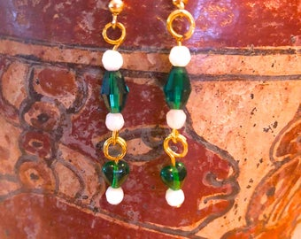 Milk glass and heart shaped green glass bead earrings