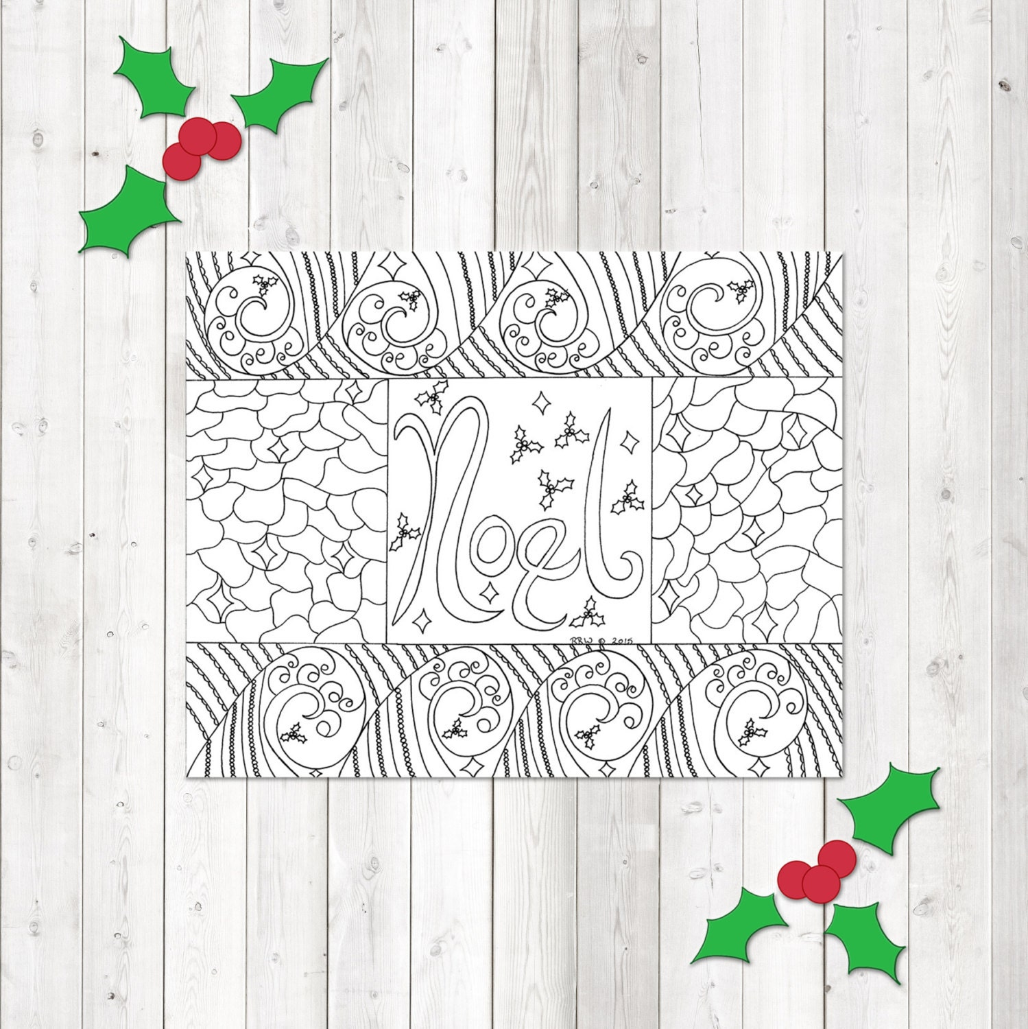 Adult Coloring Pages Christmas Coloring Instant Download